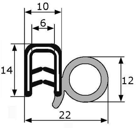 Goma estanqueidad epdm universal puerta gomas perfiles for Gomas estanqueidad puertas